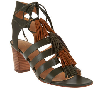 """As Is"" Marc Fisher Fringe Leather Lace-up Sandals - Playful - A286362"