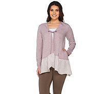 LOGO Lounge by Lori Goldstein Tie-Front Cardigan with Crinkled Hem - A286962