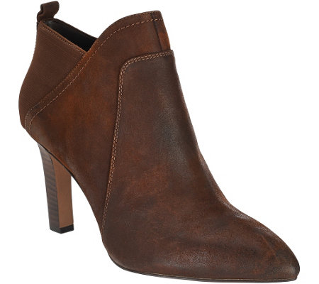 """As Is"" Franco Sarto Leather Pointed Toe Booties - Karina"