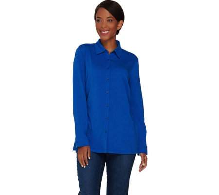 """As Is"" Denim & Co. Button Front Long Sleeve Tunic"