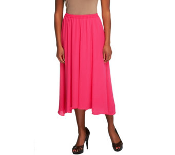 """As Is"" Joan Rivers Georgette Pull-on Skirt w/Hi-Low Hem - A290962"