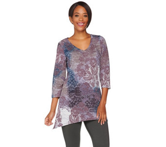 """As Is"" LOGO Lounge by Lori Goldstein French Terry Printed Top - A291162"