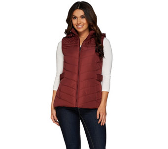 """As Is"" Liz Claiborne New York Puffer Vest w/ Chevron Quilting - A291262"