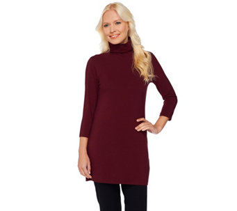 """As Is"" Women with Control Petite Long and Lean 3/4 Sleeve Tunic - A293962"