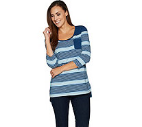 Isaac Mizrahi Live! TRUE DENIM 3/4 Sleeve Striped Tunic - A294262