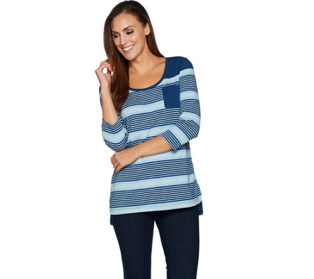 Isaac Mizrahi Live! TRUE DENIM 3/4 Sleeve Striped Tunic