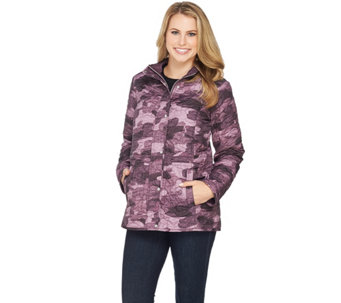 """As Is"" Isaac Mizrahi Live! SOHO Nylon Quilted Camo Anorak Jacket - A294362"