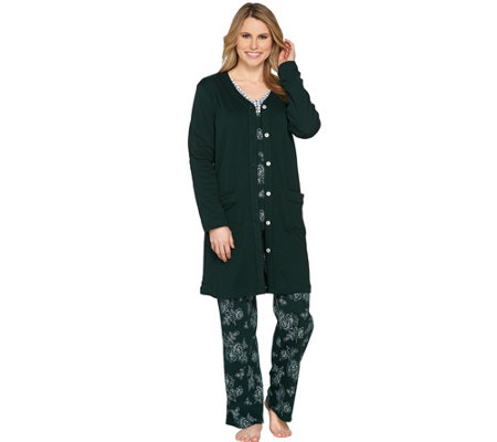 """As Is"" Carole Hochman Petite Delicate Floral Interlock 3 Pc Pajama Set"