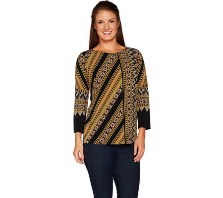 Bob Mackie's Placement Print 3/4 Sleeve Top