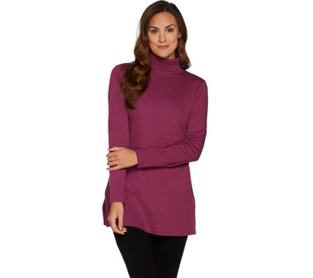 Denim & Co. Essentials Turtleneck Knit Tunic with Side Slits
