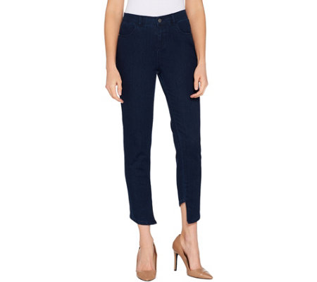 Lisa Rinna Collection Skinny Asymmetric Hem Jeans