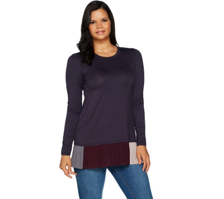 """As Is"" LOGO by Lori Goldstein Solid Knit Top with Contrast Pleating"