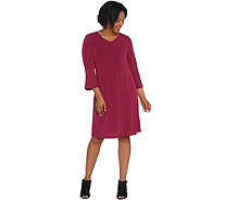 Quacker Factory Stretch Knit Dress with Rhinestone Bell-Sleeves - A309662