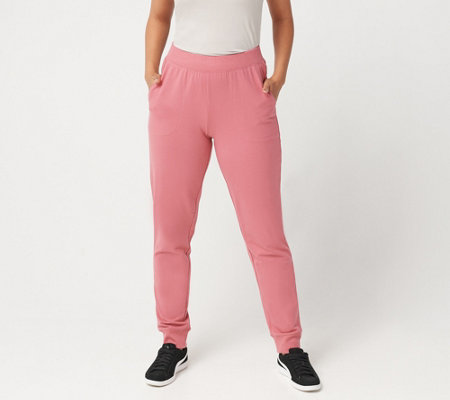 """As Is"" Denim & Co. Active Petite Pull-On Knit Jogger Pants"