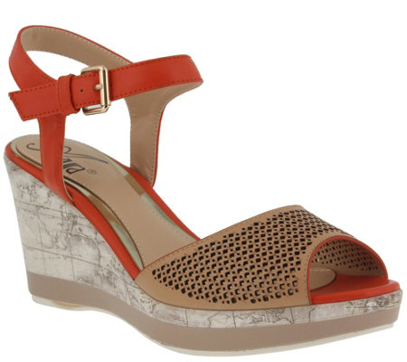 Azura by Spring Step Perforated Wedge Sandals -Liefde