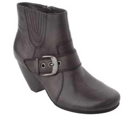 BareTraps Leather Side Zip & Buckle Ankle Boots