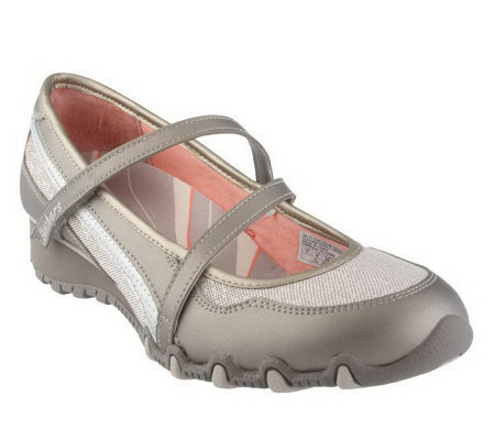Skechers Leather & Sparkle Wedge Mary Janes