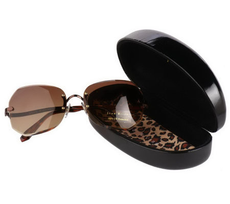 Joan Rivers Beveled Edge Diamond Cut Sunglasses