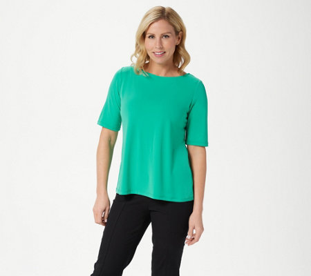 Susan Graver Essentials Liquid Knit Bateau Neck Top w/Elbow Sleeves