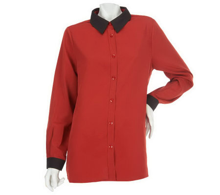 Susan Graver Cool Peach Big Shirt with Contrast Collar & Cuffs