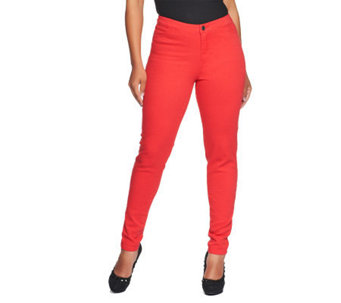 Lisa Rinna Collection Fly Front Skinny Jeans with Pockets - A232563