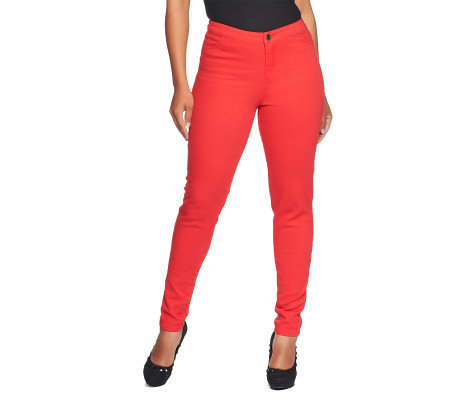 Lisa Rinna Collection Fly Front Skinny Jeans with Pockets