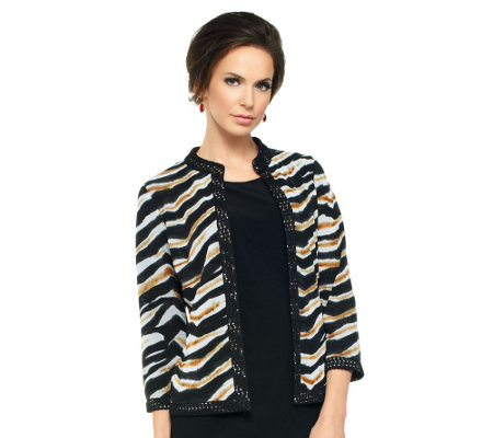 Joan Rivers Wild Safari Reversible Knit Jacket w/ 3/4 Sleeve