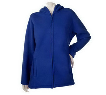 """As Is"" Denim & Co. Zip Front Fleece Jacket w/Hood and Sherpa Lining - A235663"