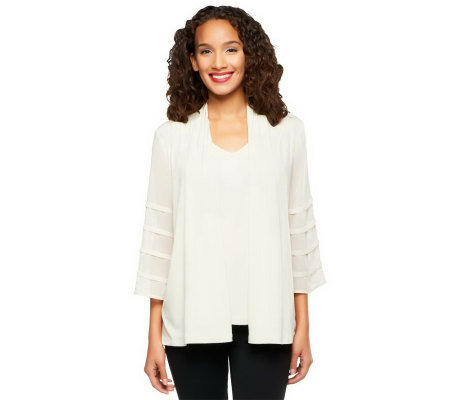 Susan Graver Liquid Knit Cardigan Set w/ 3/4 Chiffon Sleeves