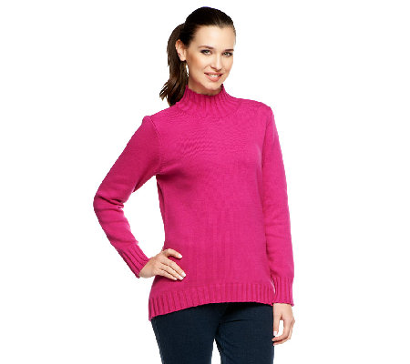 Denim & Co. Essentials Mock Neck Sweater with Hi-Low Hem
