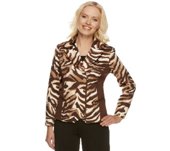 George Simonton Printed Moto- Zipper Jacket w/ Ponte Knit - A252163