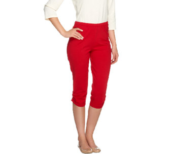 Susan Graver Weekend Stretch Cotton Capri Leggings w/ Ruching - A254363
