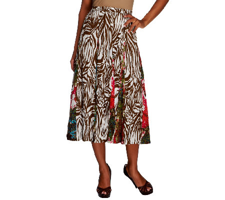 Susan Graver Weekend Printed Cotton Eight Gore Pull-on Skirt