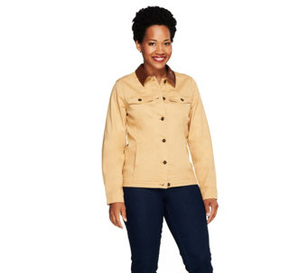 Denim & Co. Stretch Twill Jacket with Faux Leather Collar - A257463