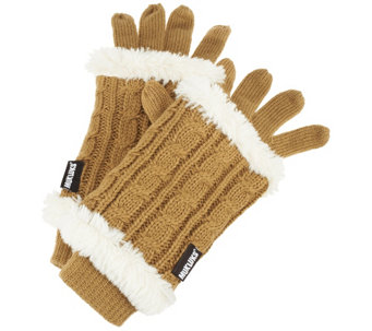 MUK LUKS 3-in-1 Cable Knit Gloves with Faux Fur - A257863