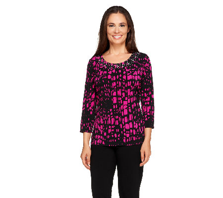 Susan Graver Printed Liquid Knit Embellished Scoop Neck Top
