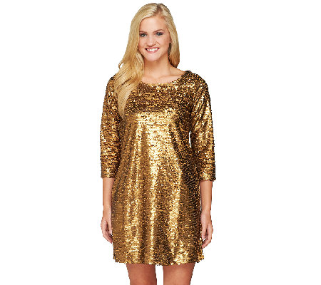 Edge by Jen Rade Long Sleeve Sequin Tunic Dress - Page 1 — QVC.com