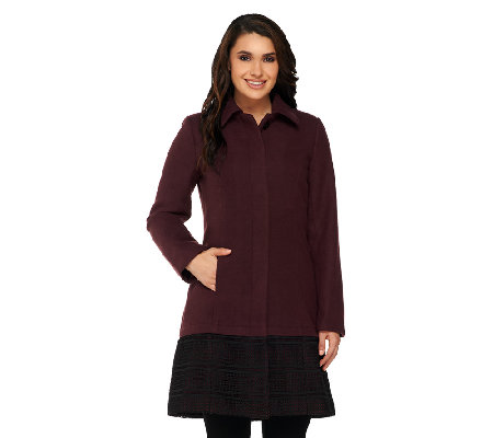 Isaac Mizrahi Live! Melton Coat with Eyelet Trim