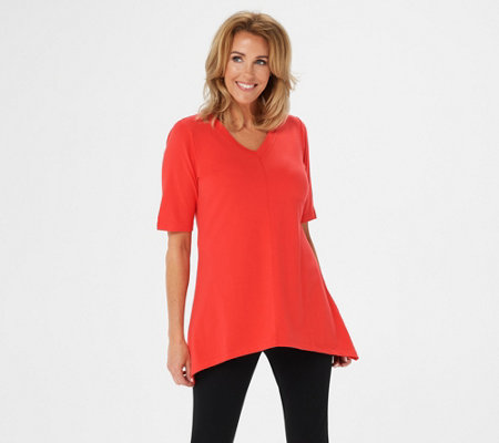 """As Is"" Denim & Co. Perfect Jersey V-neck Trapeze Hem Top"