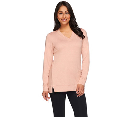 LOGO Lounge by Lori Goldstein French Terry Top with V-neck and Pocket