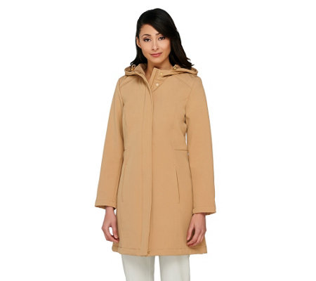 Isaac Mizrahi Live! Soft Shell Zip Front Hooded Coat
