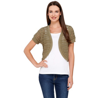 Liz Claiborne New York Short Sleeve Pointelle Shrug