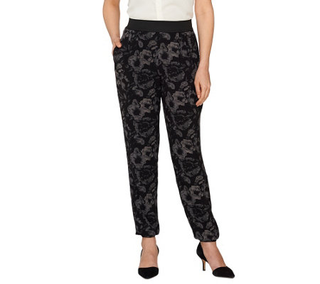 Styled by Joe Zee Floral Printed Pull-on Woven Jogger Pants