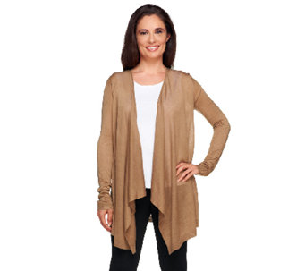 """As Is"" Susan Graver Sweater Knit Light Weight Cascade Front Cardigan - A264263"