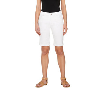 Women with Control White Denim Bermuda Shorts - A264863