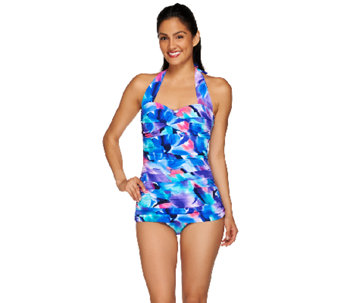 DreamShaper by Miraclesuit Caitlin Ruched Halter Swimsuit - A265063