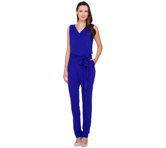 Mark of Style by Mark Zunino Sleeveless Jumpsuit with Tie Waist - A265963
