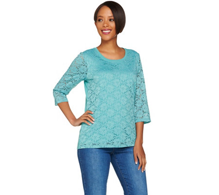 Denim & Co. 3/4 Sleeve Top with Lace Front Detail