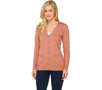 """As Is"" Denim & Co. Essentials Button Front Cardigan - A268063"