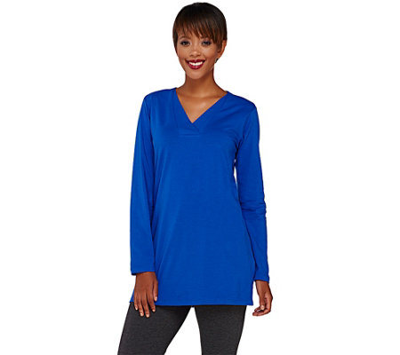 Denim & Co. Essentials Perfect Jersey Crossover V-Neck Tunic
